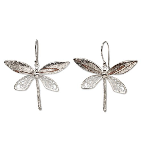 NOVICA .925 Sterling Silver Filigree Dragonfly Dangle Earrings 'Poised Dragonflies' ()