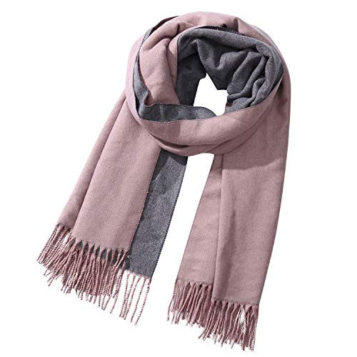 2 Tone Shawl Oversized Wrap Winter Warm Scarf cape Outdoor/Home/Office Unisex(Grey and Purple)