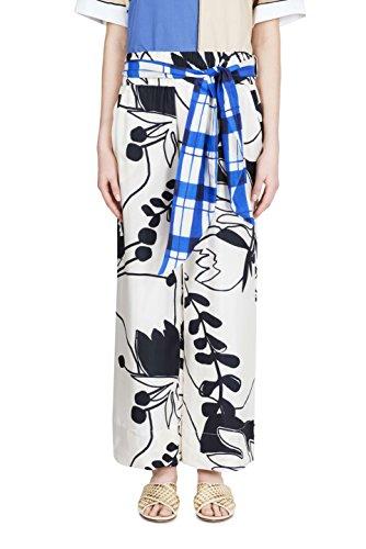 ALYSI - ALYSI donna pantalone seta fantasia bianco floreale 108142 P8006 RISO - 26384