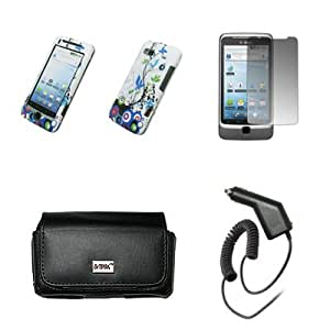 EMPIRE Black Leather Case Pouch with Belt Clip and Belt Loops + Blue Vine Design Snap-On Cover Case + Screen Protector + Car Charger (CLA) for T-Mobile HTC G2