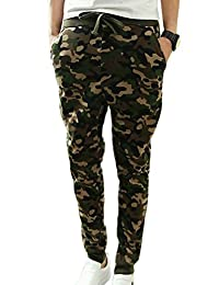 Panegy Men's Camouflage Color Drawstring Waist Jogging Harem Pants
