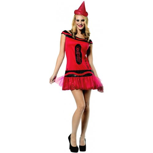 Crayola Logo For Costume (Crayola Glitz and Glitter Crayon Dress Adult Costume Big Dip 'O Ruby Red - Small/Medium)