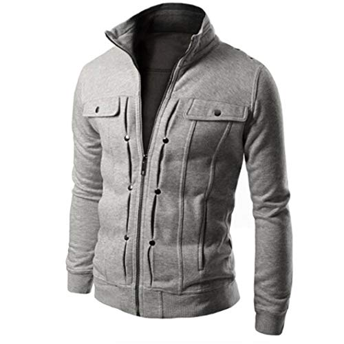 (Clearance!Fashion Men's Slim Pure Standing Collar Designed Lapel Cardigan Coat Jacket)