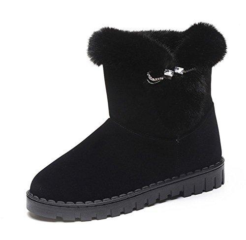 interno addensato black stivali stivali sport spesso più moda velluto tempo da stivali donna da Scarpe da piatto KUKI libero fondo fondo scarponi neve a donna gHSTZnq