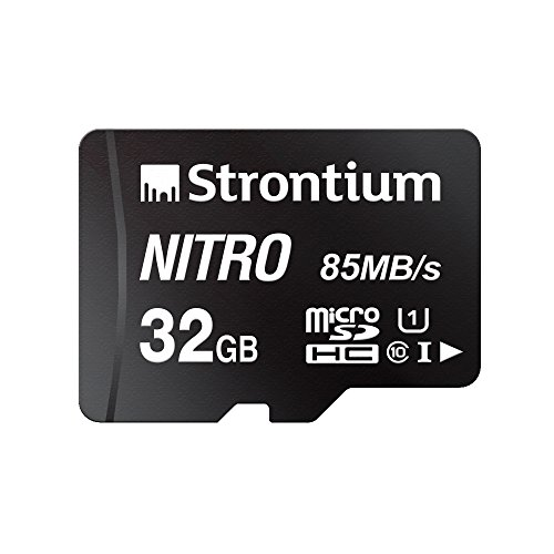 Strontium Nitro 32GB Micro SDHC Memory Card 85MB/s UHS-I U1 Class 10 w/ Adapter High Speed For Smartphones Tablets Drones Action Cams (SRN32GTFU1QA)