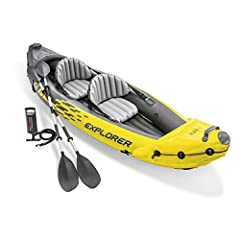 The Intex Explorer K2 Kayak is sporty and fun with a streamlined design for easy paddling. The bright yellow color and sporty graphics makes the kayak highly visible in the water. Great for experiencing lakes and mild rivers with a friend, th...