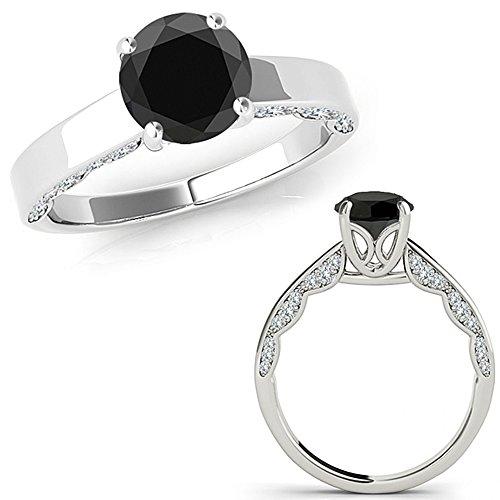 Vintage Diamond Solitaire (0.75 Carat Black Diamond Vintage Beautiful Solitaire Engagement Wedding Anniversary Ring 14K White Gold)