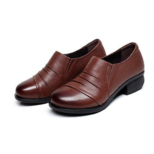 zapatos de cuero de la primavera solteros/La Sra redonda zapatos casuales/ zapatos de moda con la boca profunda C