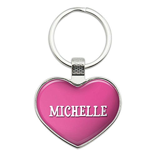 Graphics and More Metal Keychain Key Chain Ring Pink I Love Heart Name L-M - Michelle