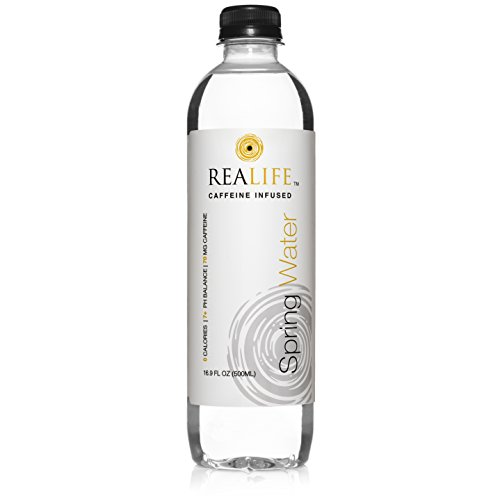 REALIFE Caffeinated Spring Water (30-Pack) Caffeine Infused plus Electrolytes for Natural Energy | Sugar-Free Soda or Coffee Substitute | Crisp, Delicious, Non-Carbonated | 16.9 oz