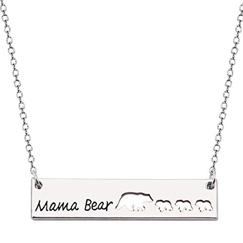 KUIYAI Sweet Family Mama and Baby Bear Necklace Gift for Mothers (bar 3 Cubs Cut Out)