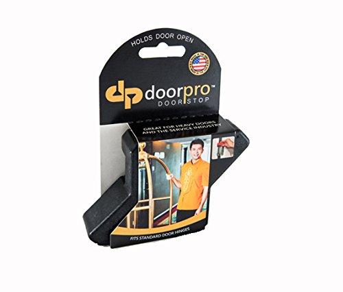 DoorPRO Doorstop Commercial Black Doorstops with Belt Clip, Fits up to 3/4-Inch Hinges, Pack of 2