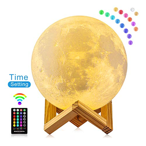 Moon Lamp 3D Moon Night Light with Timing Setting, FIRPOW 16 Colors LED RGB Full Lunar Moon Lamp with Stand & Remote & Touch Control USB Charging Best Gifts for Kids Lover Birthday Christmas, 5.9inch