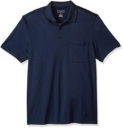 Van Heusen Men's Short Sleeve Jacquard Stripe Polo Shirt, Majestic Blue, Large