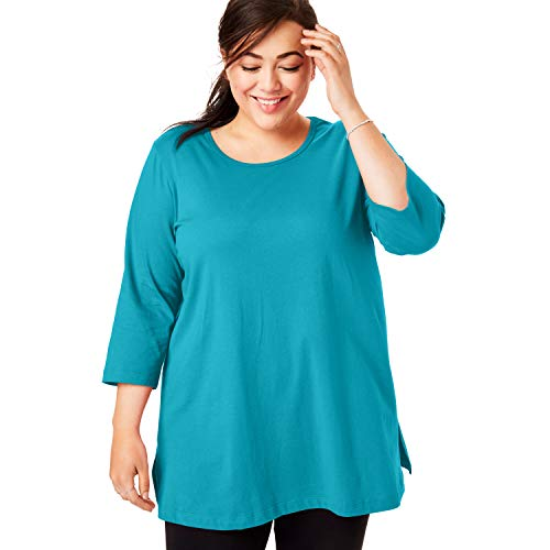 Woman Within Women's Plus Size Perfect Scoop Neck Three-Quarter Sleeve Tunic - Deep Turquoise, L