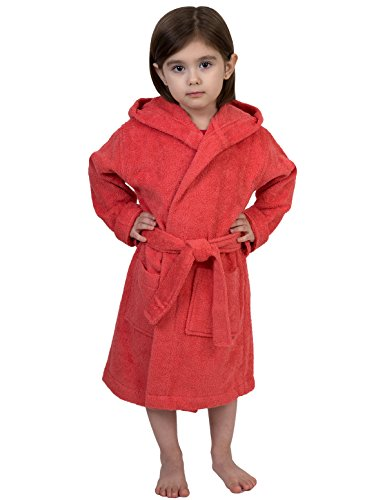 TowelSelections Big Girls' Robe, Kids Hooded Cotton Terry Bathrobe Cover-up Size 8 Sugar - Sugar Beach Turkey