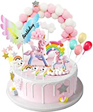 MOVINPE Unicorn Cake Topper, 2 Magic Unicorns Sculpture, 1 Pink Hairball Arch, 1 Rainbow, 1Wings Happy Birthday Banner, 2 Cloud, 4 Balloon, 10 Stars, 3 Little Unicorn Rainbows, Cake Decoration For Girl Kid Women Birthday Party