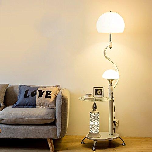 - Modern Multi-Purpose Floor Lamp, Glass Shelf, 2 White Acrylic Lampshades, Living Room Bedroom Coffee Table Floor Lamp, H166cm (Color : White)