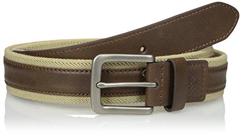 c with Leather Overlay Comfort Stretch Belt, Khaki, X-Large ()