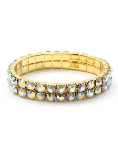 Bracelet 1/2 Stretch - Topwholesalejewel Gold Aurora Borealis Rhinestone 2 Rows Stretch Bracelet