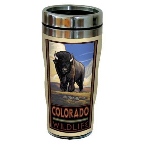 Tree-Free Greetings sg23125 Vintage Colorado Buffalo by Paul A. Lanquist Stainless Steel Sip