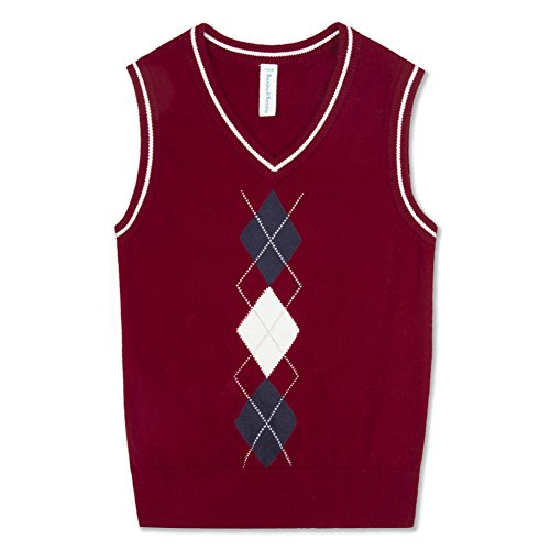 Benito & Benita Boys' Sweater Vest School V-Neck Uniforms Pullover Sweaters with Argyle Patterns for Boys 3-12Y Deep Red
