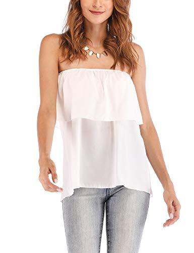 Hioinieiy Women's Summer Casual Off Shoulder Tube Top Chiffon Sleeveless Flowy Blouse Strapless Ruffle Swing Shirt White XL