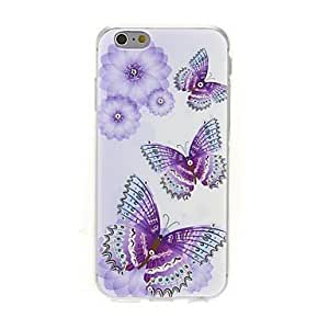 PEACH the Three Butterflies Diamond Paste Pattern TPU Soft Cover for iPhone 6