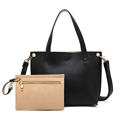 Black Satchel Tote - Scarleton Small Stylish Reversible Tote Handbag for Women, Vegan Leather Shoulder Bag, Hobo bag, Satchel Purse, Black/Natural, H184220190131