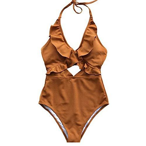 (ROVLET Women's Cute Ruffles V Neck Flounce One-Piece Padded Swimsuit Beach Swimwear Bathing Suit Bikini Monokini for Teens (X-Large, Caramel))