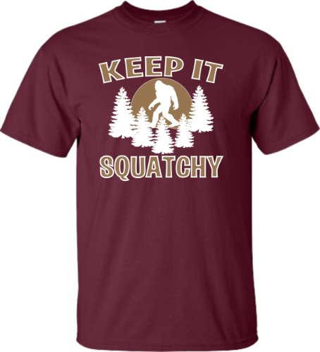 XXXXX-Large Maroon Adult Keep It Squatchy Sasquatch Bigfoot T-Shirt