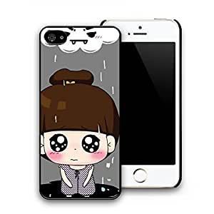 Cute Crying Girl Image Pattern Hard Plastic Back Protective Case Cover Skin for iphone 5/5s (Black Side)