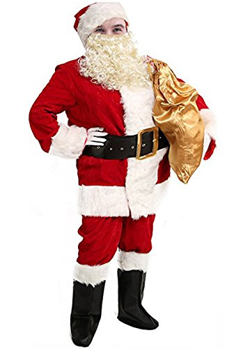 10 Pcs Men Santa Suit accessories XXL, Deluxe Adults Christmas Santa Claus Costume