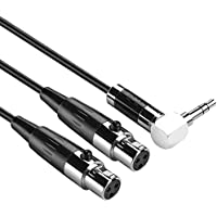 BATIGE 90 Degree Right-angled 3.5mm Male Stereo To 2 Dual Mini-XLR Female Splitter Cable Cord Audio Cable (3 Feet)