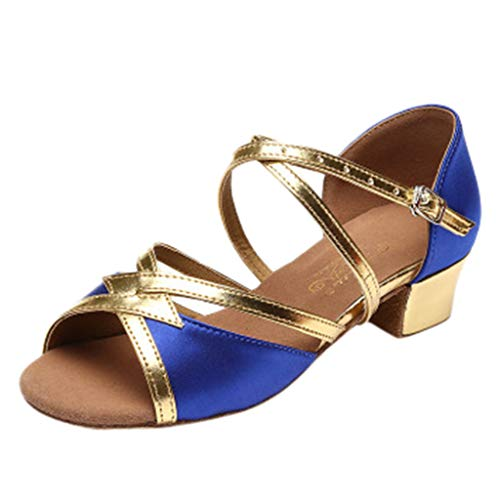 Hurrybuy Women's Gladiator/Criss Cross-Design Summer Sandals Dancing Prom Ballroom Latin Salsa Dance Shoes Sandals Blue ()