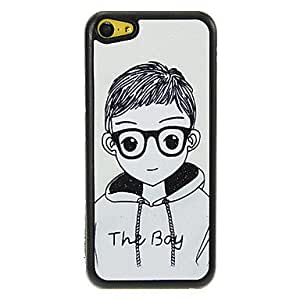 DUR Boy Student with Glasses Pattern Shimmering PC Hard Case for iPhone 5C