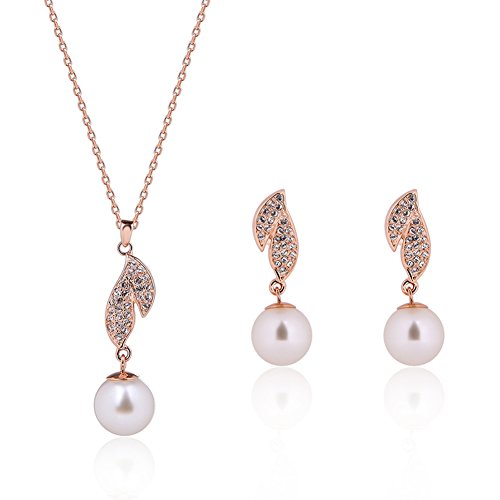 KAVANI Women's Rose Gold Silver Plated Heart-Shaped Leaf Pearl Zircon Jewelry Set Pendant Necklace Earring Set (Shaped Silver Plated)