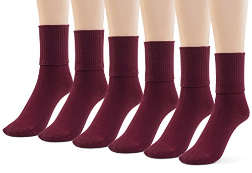 Silky Toes Boys Girls Turn Cuff Bamboo Socks for School Uniform, 3 or 6 Pk Triple Roll Dress Crew Seamless Socks