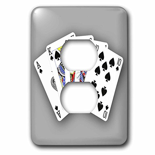 3dRose lsp_218691_6 Poker. Royal Flash. Spade. Grey. Popular Image. - 2 Plug Outlet Cover by 3dRose