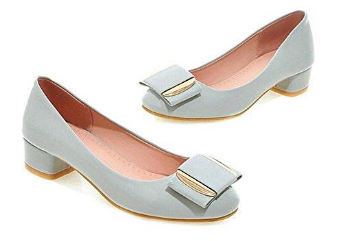 GRAY de bajo Tacón Zapatos Solo Zapatos 36 36 Dedo pie Corte Metal Grueso del con XIE Redondo de 1q5aaO