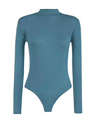 Teal S Turtle Top Dolcevita Fancy Body L Body Donna Fashions Islander Wear manica lunga Party a6A7xTywq