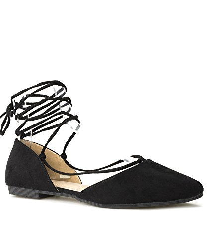 Flats Up Lace Lace (RF ROOM OF FASHION Vegan Pointed Toe D'Orsay Ballet Flats - Ankle Strap Wrap Around Closed Toe Flat Shoes Black (9))