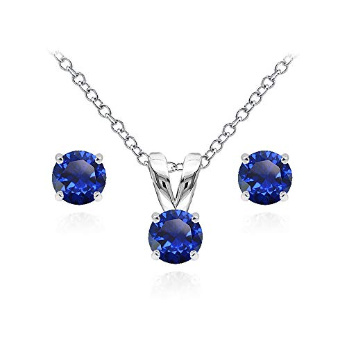 (Sterling Silver Created Blue Sapphire 5mm Round Solitaire Pendant Necklace and Stud Earrings Set for Teens)