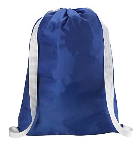 Backpack Laundry Bag, Royal Blue - 22 X 28 - Two shoulder straps for easy backpack carrying and drawstring closure. These nylon laundry bags come in a variety of attractive colors and patterns.