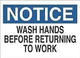 10''x14'' Blue/Black on White Aluminum NOTICE Wash Hands Before Returning To Work AgentSafety Sign