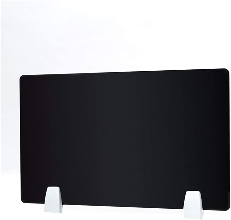 HEFUTE Desk Divider 11.8 Inches x 19.7 Inches Desktop Privacy Panel with 2 Clamp Bracket PET Sound Absorbing Material Grey Privacy Shields for Student Desks Desk Partition Accessories(Black)