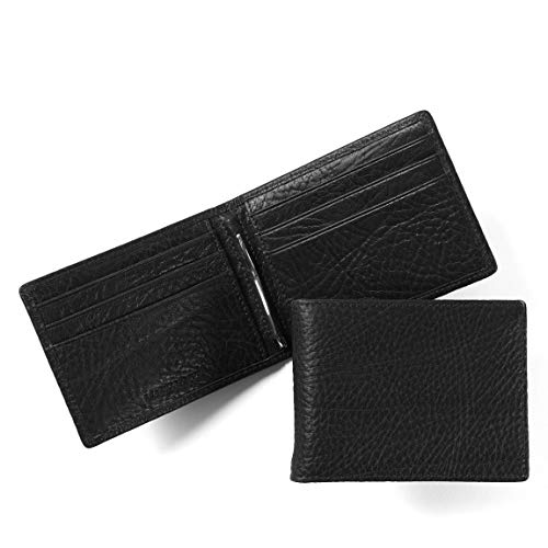 Leatherology Men's Bifold Wallet with Spring Money Clip - RFID Available - Italian Leather - Ebony - Money Italian Clip