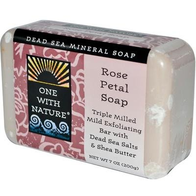 Rose Bar Soap (One With Nature Rose Petal Dead Sea Mineral Soap, 7 Ounce Bars (Pack of 6))