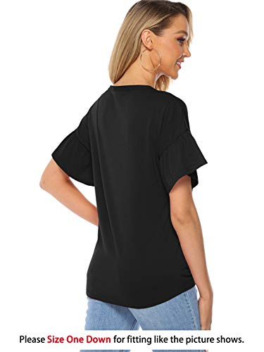 Florboom V-Neck Tunic Blouse for Summer Womens Tie Front Knot Tee (Black, XXL)