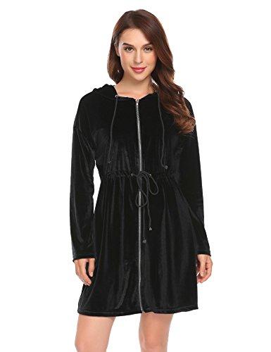 Vansop Women's Terry Cloth Bathrobe Classic Hooded Bathrobe Turkish Cotton Terry Cloth (Classic Terry Robe)